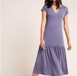 Anthropologie Grey Tiered Midi Dress